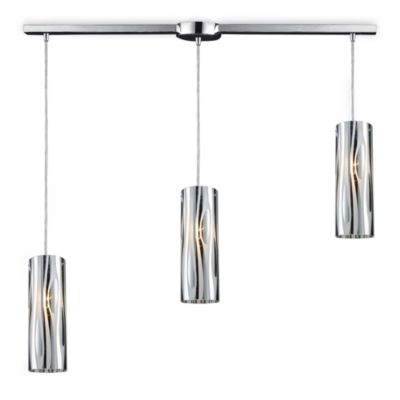 ELK Lighting Chromia 3-Light Linear Pendant in Polished Chrome/Wavy