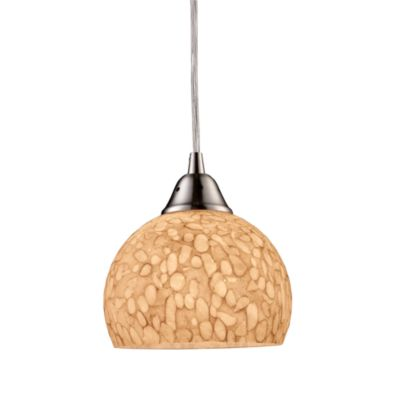 ELK Lighting Cira 1-Light Pendant Satin Nickel/Pebbled Grey-White
