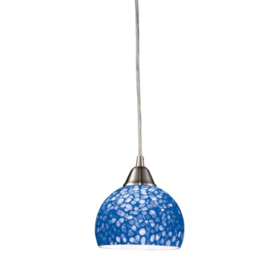 ELK Lighting Cira 1-Light Pendant Satin Nickel/Pebbled Blue