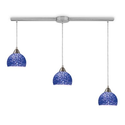 ELK Lighting Cira 3-Light Linear Pendant Satin Nickel/Pebbled Blue