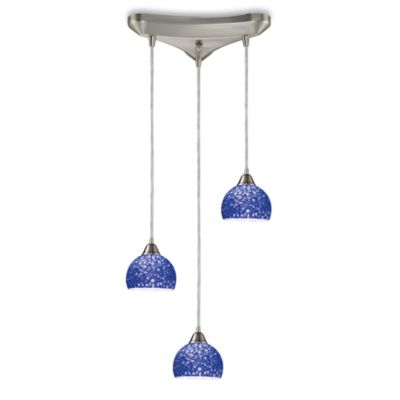 ELK Lighting Cira 3-Light Pendant Satin Nickel/Pebbled Blue