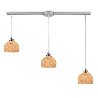 ELK Lighting Cira 3-Light Linear Pendant Satin Nickel/Pebbled Grey-White