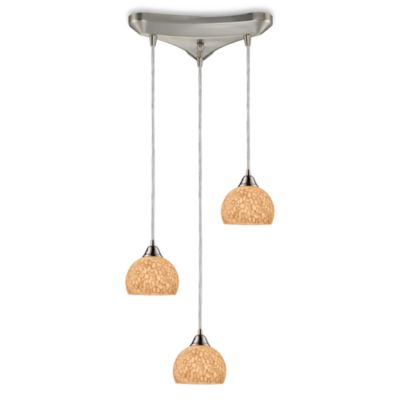 ELK Lighting Cira 3-Light Pendant Satin Nickel/Pebbled Grey-White