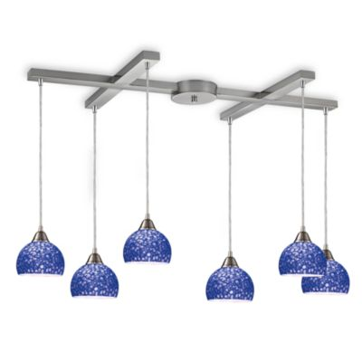 ELK Lighting Cira 6-Light Pendant Satin Nickel/Pebbled Blue