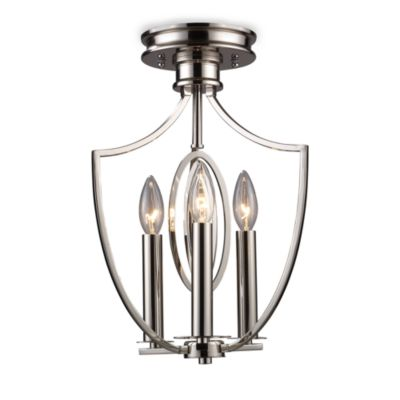 ELK Lighting Dione 3-Light Semi-Flush Mounted Ceiling Lamp in Polished Nickel