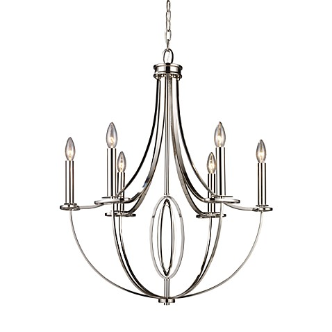 ELK Lighting Dione 6-Light Chandelier in Polished Nickel