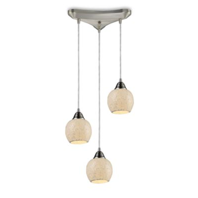 ELK Lighting Fission 3-Light Pendant in Satin Nickel/Cloud