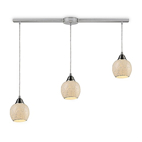 ELK Lighting Fission 3-Light Linear Pendant in Satin Nickel/Cloud