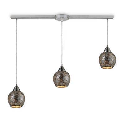 ELK Lighting Fission 3-Light Linear Pendant in Satin Nickel/Silver