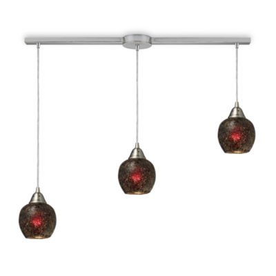 ELK Lighting Fission 3-Light Linear Pendant in in Satin Nickel/Wine