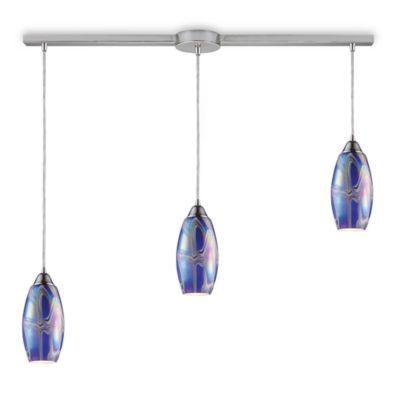 ELK Lighting Iridescence 3-Light Linear Pendant in Satin Nickel/Storm Blue