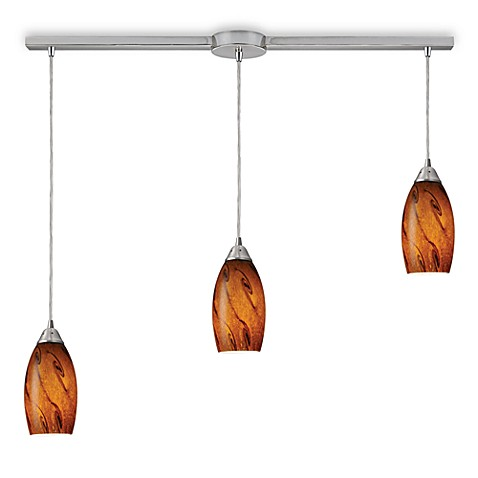 ELK Lighting Galaxy 3-Light Linear Pendant with Brown Shade