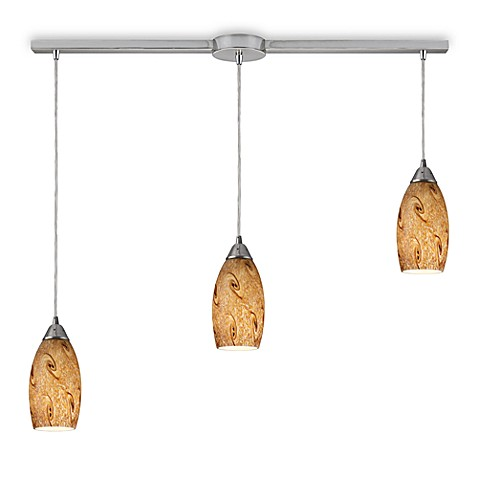 ELK Lighting Galaxy 3-Light Linear Pendant with Misty Lavender Shade