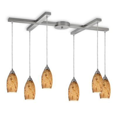 ELK Lighting Galaxy 6-Light Pendant with Misty Lavender Shade