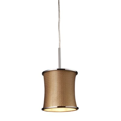 ELK Lighting Fabrique 1-Light Drum Pendant with Bronze Weave Shade