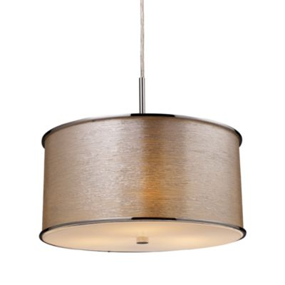 ELK Lighting Fabrique 3-Light Drum Pendant with Silver Streak Shade