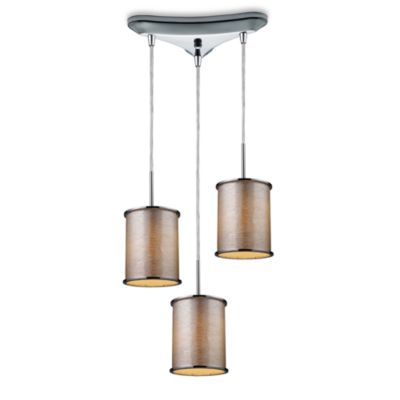 ELK Lighting Fabrique 3-Light Drum Pendant with Tan Stripe Shades