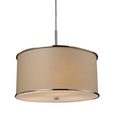 ELK Lighting Fabrique 3-Light Drum Pendant with Textured Beige Shade