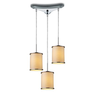 ELK Lighting Fabrique 3-Light Drum Pendant with Textured Beige Shades