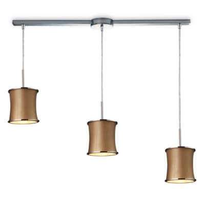 ELK Lighting Fabrique 3-Light Linear Drum Pendant with Bronze Weave Shades