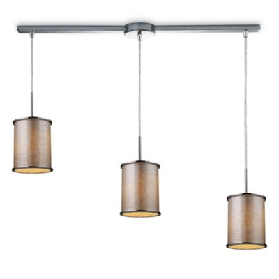 ELK Lighting Fabrique 3-Light Linear Drum Pendant with Silver Streak Shades