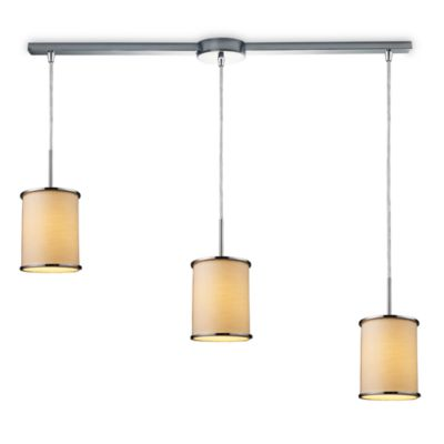 ELK Lighting Fabrique 3-Light Linear Drum Pendant with Textured Beige Shades
