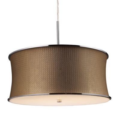 ELK Lighting Fabrique 5-Light Drum Pendant with Bronze Weave Shade