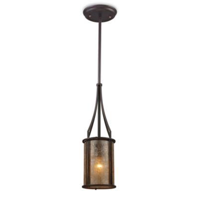 ELK Lighting Barringer 1-Light Mini Pendant with Tan Mica Shade