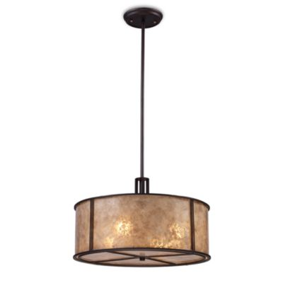 ELK Lighting Barringer 4-Light Pendant with Tan Mica Shade