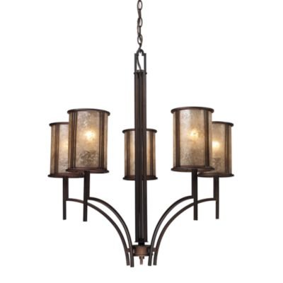 ELK Lighting Barringer 5-Light Chandelier with Tan Mica Shades