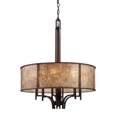 ELK Lighting Barringer 6-Light Pendelier with Tan Mica Shade