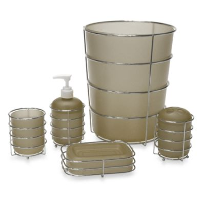 Wire Ware Waste Basket in Taupe