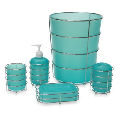 Wire Ware Waste Basket in Aqua