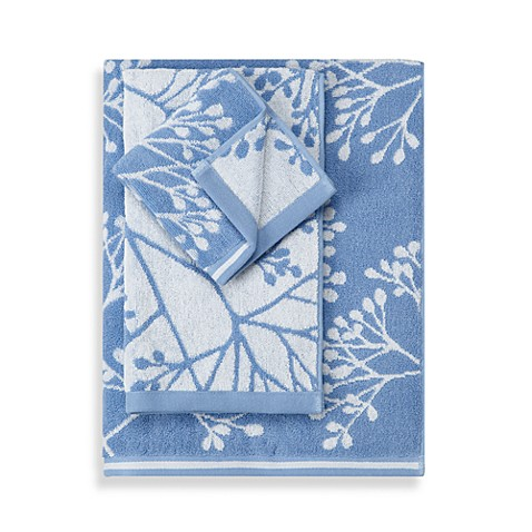 Fresh Floral Real Simple Blue & White Bath Towels