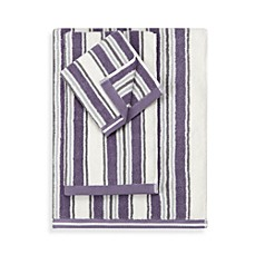 Real Simple Violet Stripe Towels, 100% Cotton