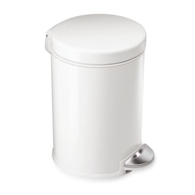 simplehuman® Round 1-1/5 Gallon Step Wastebasket in White
