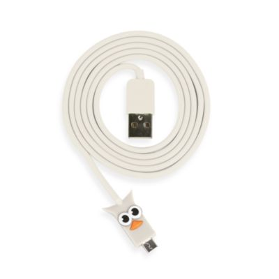 Kikkerland® Design White Owl USB Micro Cable