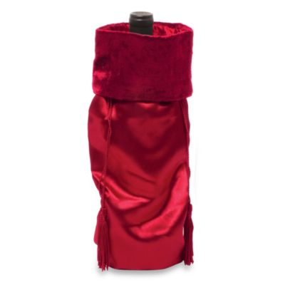 Red Satin Wine Bottle Sack with Velvet Collar