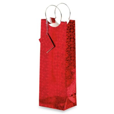 True® Ruby Slippers Paper Wine Bag with Metal Handles