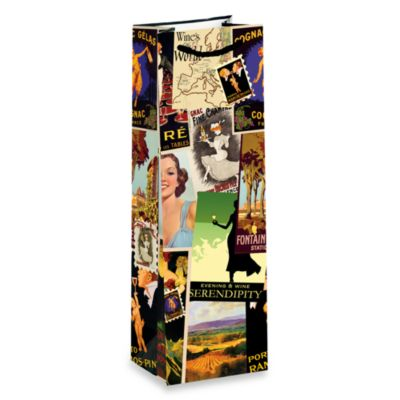 True® Vintage Collage Paper Wine Bag