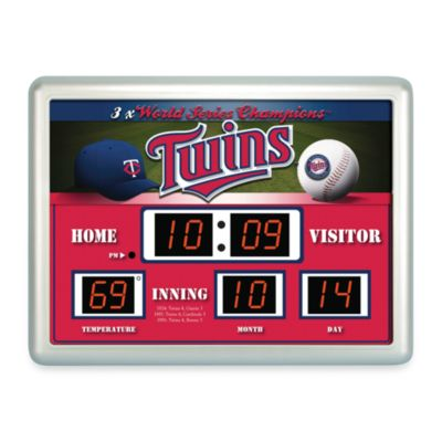 MLB Minnesota Twins Indoor/Outdoor Scoreboard Wall Clock