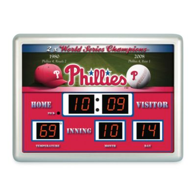 MLB Philadelphia Phillies Indoor/Outdoor Scoreboard Wall Clock