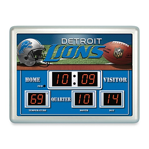 NFL Detroit Lions Indoor/Outdoor Scoreboard Wall Clock