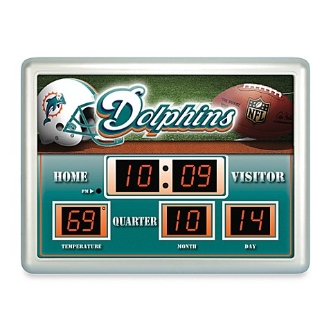 NFL Miami Dolphins Indoor/Outdoor Scoreboard Wall Clock