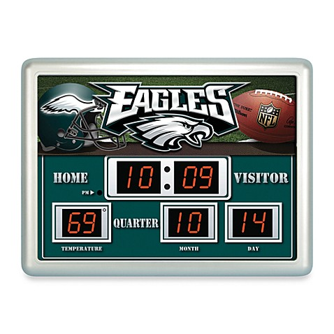 NFL Philadelphia Eagles Indoor/Outdoor Scoreboard Wall Clock