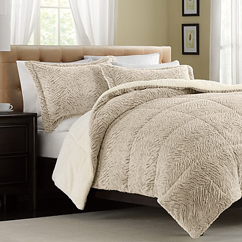 The Seasons Collection® Fur Reversible Down-Alternative Taupe Comforter Set