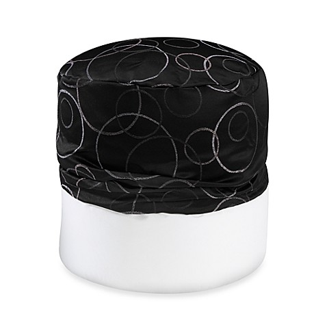 Circle Jacquard Footstool Cover in Black