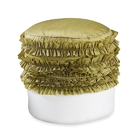 Extreme Ruffle Green Footstool Cover