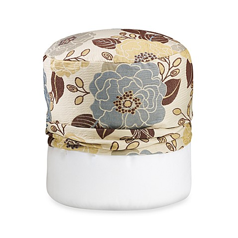Full Bloom Blue Footstool Cover