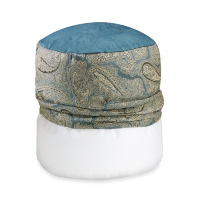 Monochromatic Paisley Blue Footstool Cover
